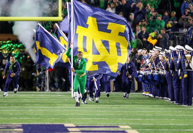 The Notre Dame leprechaun runs out onto the field prior to the Irish's game against USC on Oct. 12.