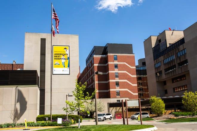 University of Iowa Hospitals & Clinics is seen, Friday, May 8, 2020, on the University of Iowa campus in Iowa City, Iowa.