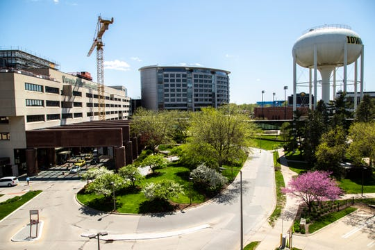 University of Iowa Hospitals & Clinics and Stead Family Children's Hospital are seen, Friday, May 8, 2020, on the University of Iowa campus in Iowa City, Iowa.