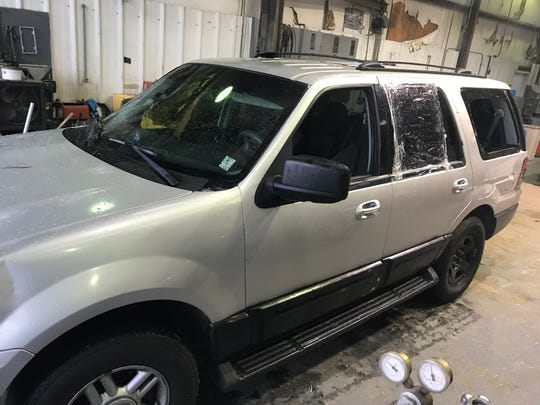 Authorities are looking for a man who allegedly fired several shots at a Pearl police officer during a Friday, May 8, 2020, police chase into Jackson. The Ford Expedition the suspect was driving sustained damage from the gunfire.