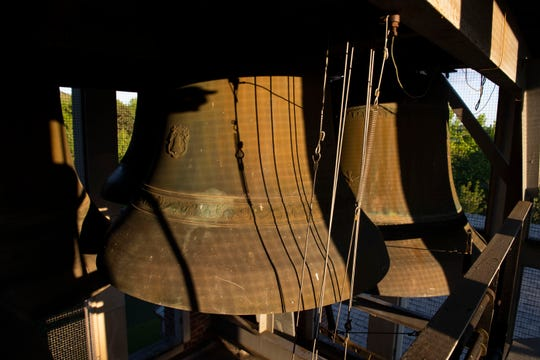 Bells inside the carillon tower at the First Presbyterian Church on Wednesday May, 6, 2020 in Jackson, Tenn.
