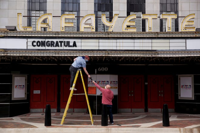 """The Lafayette Theater marquee is changed to read """"Congratulations Class of 2020,"""" Thursday, May 7, 2020 in Lafayette."""