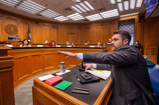 Louisiana House of Representatives Republican Delegation chairman Blake Miguez, R-Erath, speaks in the House and Governmental Affairs committee at the state Capitol in Baton Rouge, La. (Travis Spradling, AP)