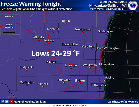 Most of the state is under a freeze warning from midnight to 8 a.m. Saturday.