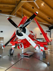 This Goodyear F2G Super Corsair and three P51 Mustangs will fly over Mountain Home at 4 p.m. Saturday.