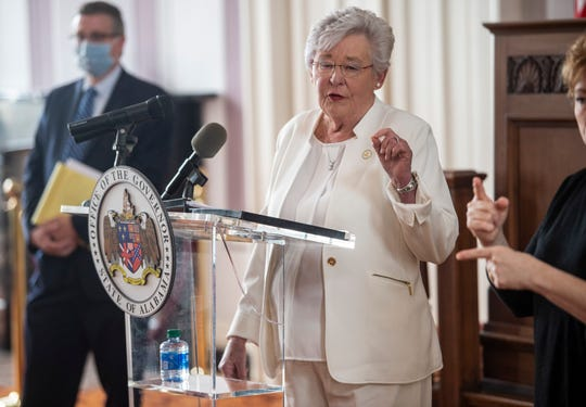 Gov. Kay Ivey speaks at the Alabama State Capitol in Montgomery, Ala., on Friday, May 8, 2020.