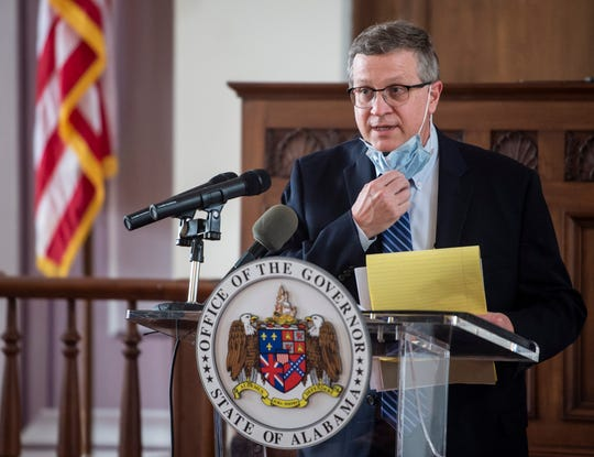 State Health Officer Scott Harris speaks during a press conference at the Alabama State Capitol in Montgomery, Ala., on Friday, May 8, 2020.