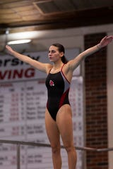 Caitlin Locante competes at Ball State as a diver with the BSU women's swimming and diving team. She is an advocate for mental health resources for athletes.