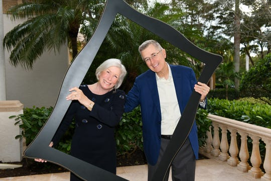 Patricia Gibbons and her husband David Gibbons pose for a photo during a Naples Winter Wine Festival dinner at their home in North Naples in Jan. 2019. Patricia Gibbons, 76, died because of COVID-19 on April 21, 2020.