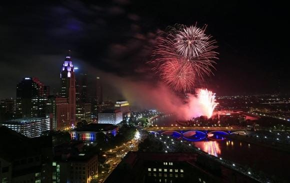 Fireworks light up the skyline during the annual Red, White & Boom display in downtown Columbus on July 3, 2019.