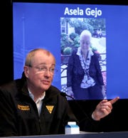 New Jersey Governor Phil Murphy recognizes COV-19 victim Asela Gejo of Asbury Park during his Friday, May 8, 2020, press conference at War Memorial in Trenton, NJ, on the State's response to the coronavirus pandemic.
