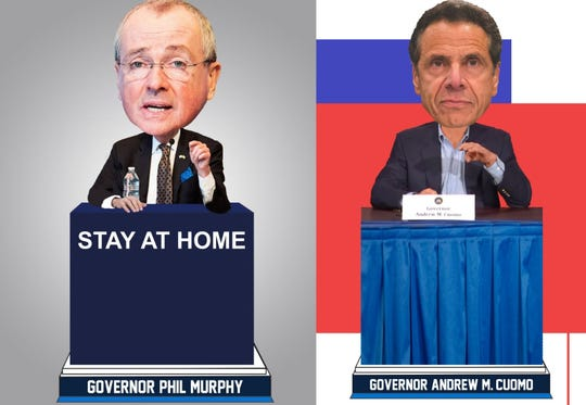 Bobbleheads for Gov. Phil Murphy of New Jersey and Gov. Andrew Cuomo of New York.