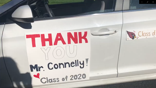 Hundreds of Westwood seniors drove by the home of Frank Connelly, principal at Westwood Regional High School, to thank him as part of Teacher Appreciation Week.