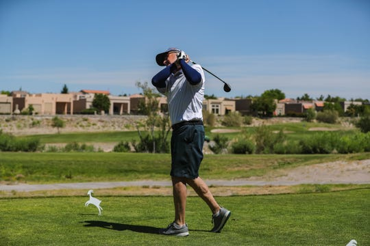 John Jaquess plays a round of golf at the Sonoma Ranch Golf Course in Las Cruces on Thursday, May 7, 2020.