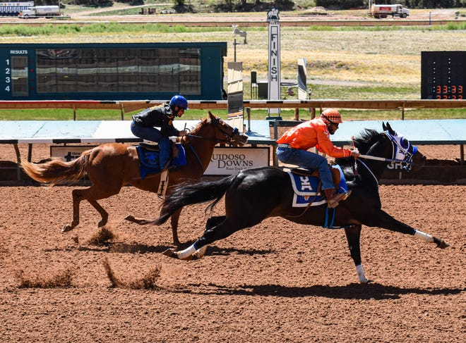Cyber Monday finishes Thursday's Schooling Works Program at the Ruidoso Downs with the fastest time of the day of 13.783 seconds.