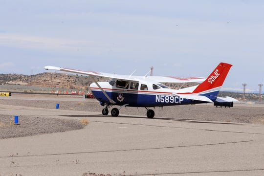 A United States Air Force Auxiliary Civil Air Patrol airplane departs from Four Corners Regional Airport in Farmington on Wednesday, May 6, 2020, to transport COVID-19 test samples to Albuquerque.