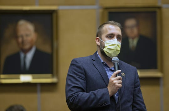 The Arizona Senator Tyler Pace speaks during a call to end the annual legislative session on May 8, 2020.