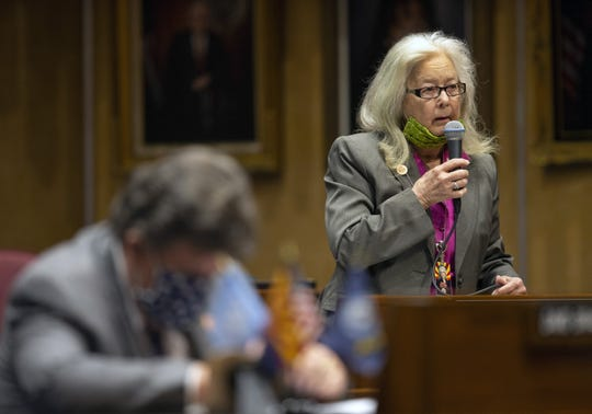 The Arizona Senator Lela Alston speaks in favor of calling an end to the annual legislative session on May 8, 2020.