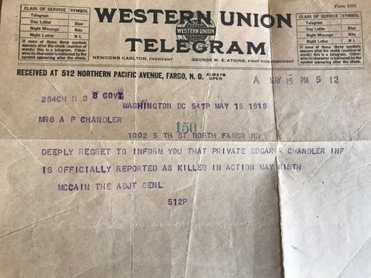 The War Department telegram signed by an ancestor of the late Sen. John McCain.