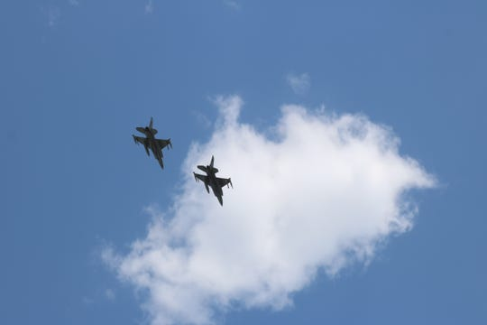 Shortly after 2 p.m. Thursday, two F-16s from the Ohio Air National Guard's 180th Fighter Wing flew over Magruder, along with many other hospitals all across the state, to salute the heroes there at the forefront in the battle against COVID-19.