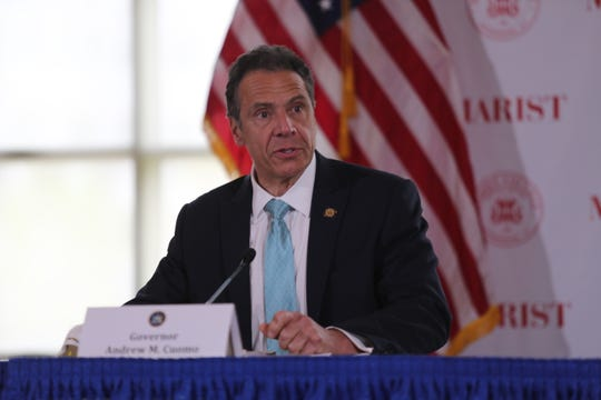 Gov. Andrew Cuomo gives his daily coronaviru briefing from the Murray Student Center at Marist College on May 8, 2020.