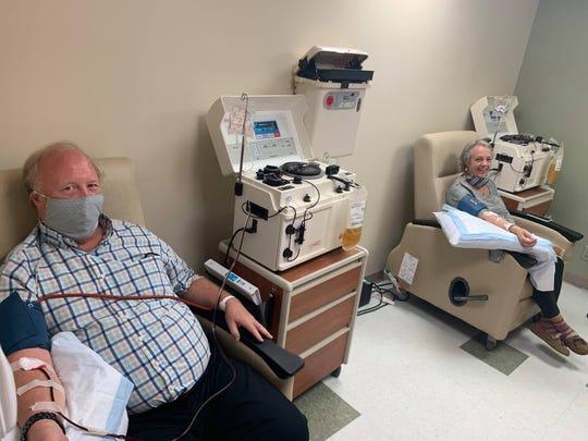 Carol and Edward Lundergan donating plasma for antibodies at Vassar Brothers Medical Center.