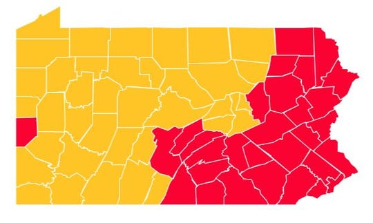 "By May 15, there will be 37 counties that will have transitioned from the ""red"" to ""yellow"" phase of Governor Tom Wolf's color-coded plan."
