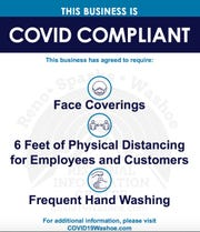 A copy of Washoe County's sign for COVID-19 compliant businesses during Phase 1 re-opening.