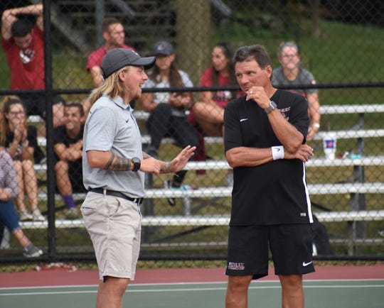 Jacob Rankin (left) takes over as Indiana University East's head tennis coach for Erskine Ratchford (right). Ratchford will stay on as an assistant.