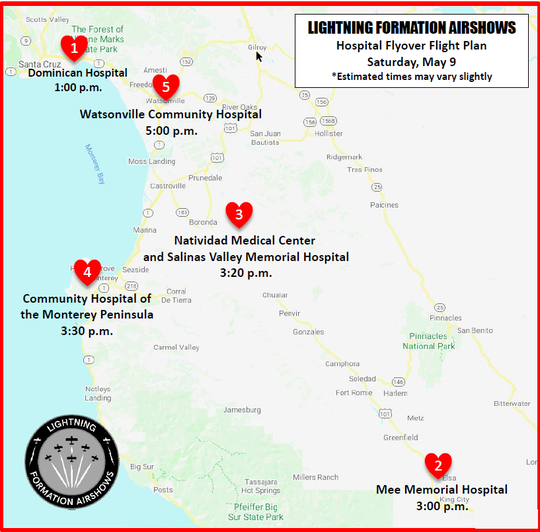 Pilots will honor healthcare workers with a flight including heart-shaped symbols over the Central Coast Saturday. Here is the expected arrival times.
