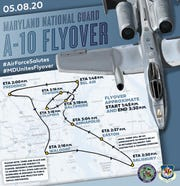This map shows the path of the Maryland National Guard A-10 flyover to honor frontline responders in the COVID-19 pandemic on Friday, May 8, 2020.