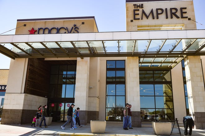 Patrons enter the Empire Mall on Friday, May 8, in Sioux Falls as it reopens during the coronavirus pandemic.