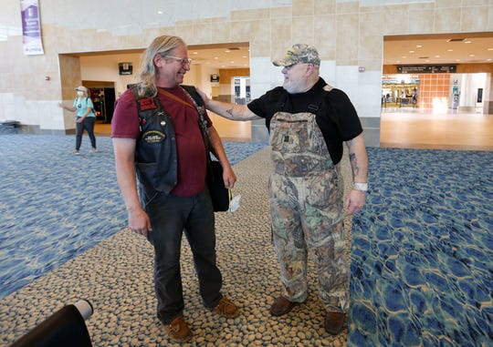 Vietnam War Army veterans Michael Jacobson (left) and Patrick Clark catch up after being reunited after not having seen each other since 1980 on Tuesday, May 5, 2020. Jacobson traveled from Idaho to Springfield to spend the week with his friend at Clark's home in Dunnegan.