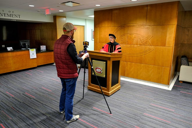 St. Cloud State University President Robbyn Wacker delivers a message to graduates via video at the Atwood Memorial Center Friday, May 8, 2020, in St. Cloud. St. Cloud State plans to hold spring semester commencement ceremonies Friday, Aug. 14.