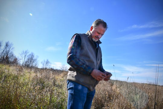 Billy Dinkel talks about his experiences as a child Saturday, Oct. 26, 2019, on land he owns near Long Prairie.