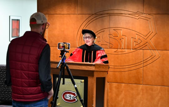 St. Cloud State University President Robbyn Wacker speaks to graduates via video at the Atwood Memorial Center Friday, May 8, 2020, in St. Cloud.