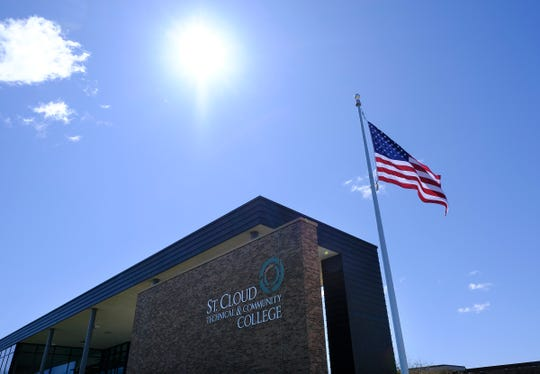 The flag flies under sunny skies in front of St. Cloud Technical and Community College Friday, May 8, 2020, in St. Cloud.