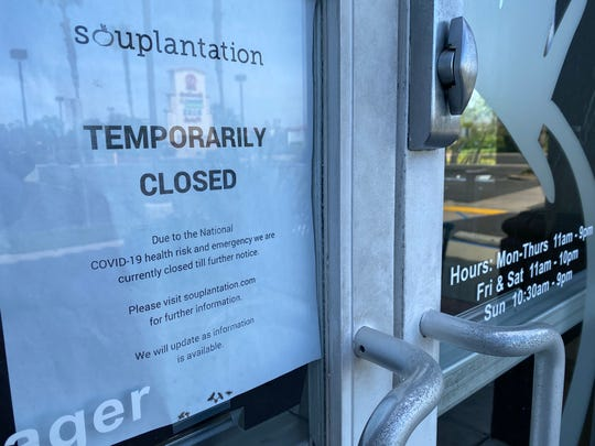 """A """"temporarily closed"""" sign is seen on the door at Souplantation in Camarillo on May 7, the day the chain announced it would not be reopening."""
