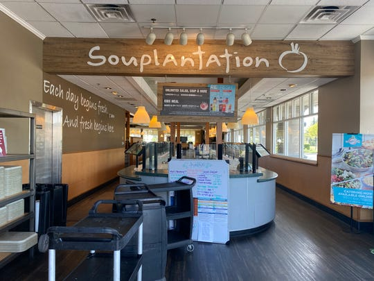 The salad bar at Souplantation in Camarillo is seen through the restaurant's windows on May 7, 2020.