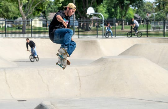 Skaters and cyclists returned to Provident Skate Park on Thursday, May 7, 2020. It was the first day Visalia City parks were reopened.