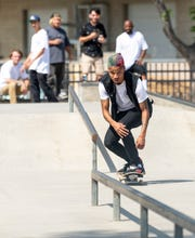 Skaters like Isiah Hilt and cyclists returned to Provident Skate Park on Thursday, May 7, 2020. It was the first day Visalia City parks were reopened.