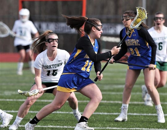 Mahopac's Sophia DeFrancesco carries the ball against Yorktown. She'll play next year for Missouri's Lindenwood University. (Submitted photo)