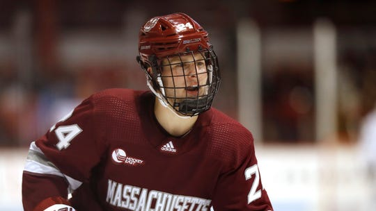 Massachusetts's Zac Jones during an NCAA hockey game against Northeastern on Friday, Nov. 1, 2019 in Boston. (AP Photo/Winslow Townson)