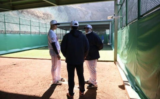 Josh Herzenberg (right), a graduate of White Plains High School, is a pitching coordinator and quality control coach with the Lotte Giants. They are one of 10 teams in the KBO League, which opened the season May 5 while Major League Baseball's plans for 2020 remained unknown.