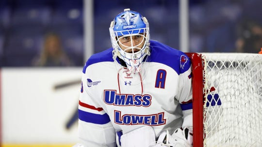 Massachusetts-Lowell goaltender Tyler Wall during an NCAA hockey game against Alabama-Huntsville on Saturday, Oct. 5, 2019 in Lowell, Mass. (AP Photo/Winslow Townson)