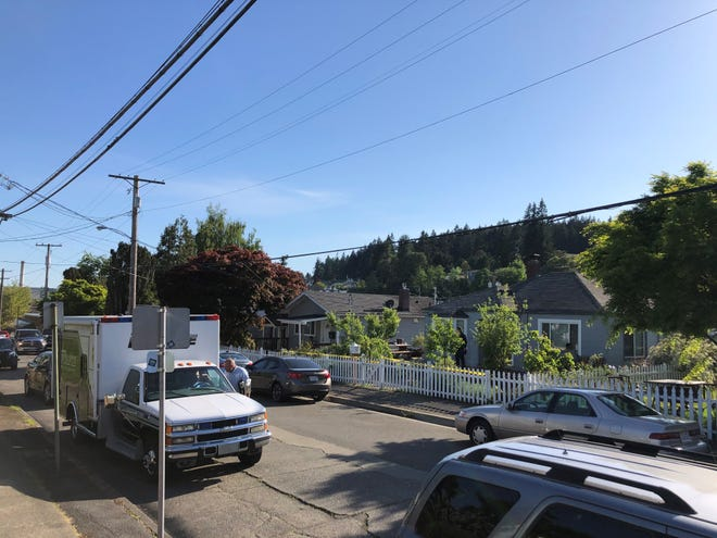 Police investigate a death in a home on North Montgomery Avenue, near 9th Street, in Bremerton Friday afternoon.