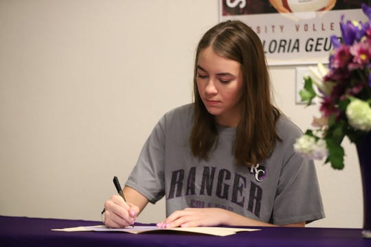 Flour Bluff volleyball player Gloria Geurin signs with Ranger College.