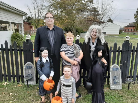 For Halloween one year, the Pairans dressed up as the Adams Family.