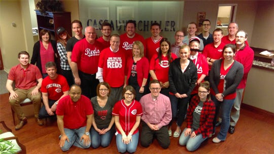 The Barnes Dennig team ready for the Reds Opening Day