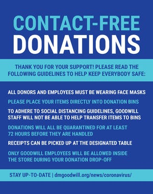 Ten Goodwill locations in central Iowa opened its doors May 8, 2020 to receive contact-free donations amid the COVID-19 pandemic.